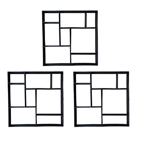 Aufun Betonformen Garten Gießform DIY Betonform Betonpflaster Quadrat mit 8 Kammern, 50 x 50 x 4.5cm Pflasterform Schablone für Beton, Gehweg, Pflastersteine, Terrassenplatten - Quadrat, 3 Stücke