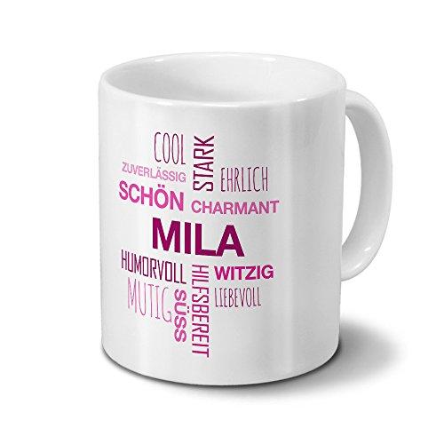 Tasse mit Namen Mila Positive Eigenschaften Tagcloud - Pink - Namenstasse, Kaffeebecher, Mug, Becher, Kaffeetasse