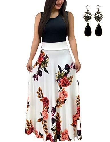 UUAISSO Sommerkleid Damen Lang mit Blüte Drucken Lang High Waist Elastische Strandkleider Maxikleider M-weiß-Ohne Arm XL