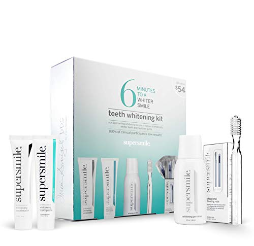Supersmile Teeth Whitening Set - 6 Minutes to a Whiter Smile - Toothpaste, Accelerator, Toothbrush, Activating Rods, and Pre-Rinse - Up to 6 Shades Whiter Teeth - No Sensitivity (Original Mint)