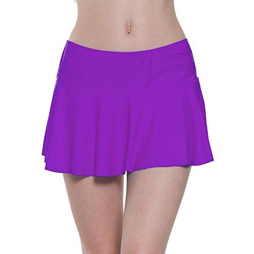 YoungSoul Damen Baderock Tankini/Bikini Rock Badeshorts Strandrock mit Integrierter Hose Violett EU 46-48