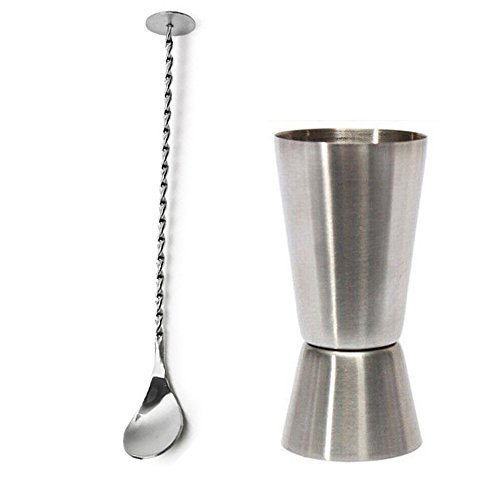 304 Stainless Steel Double Jigger and Long Twisted Mixing Spoon with Knob, Dual Measure Liquor Cup 25ml/50ml for Home Bar Cocktail Shaker