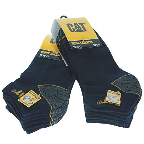 6 Pares Calcetines bajos CAT CATPERILLAR de trabajo para hombres, reforzados en el talón y la punta, excelente calidad de Algodón (Azul, 43-46)