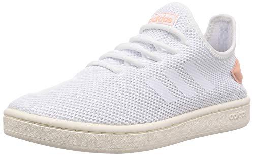 adidas Womens Court Adapt Sneaker, Footwear White/Footwear White/Dust Pink, 39 1/3 EU