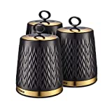 Tower T826091BLK Empire Kitchen Storage Canisters, Tea Coffee Sugar Set with Steel Body and Stylish Art Deco Design, Black