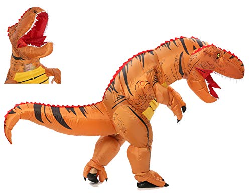 FUNNY COSTUMES Adult Size T Rex Costume Inflatable Dinosaur Costume Halloween Costume (Dino Brown Large)
