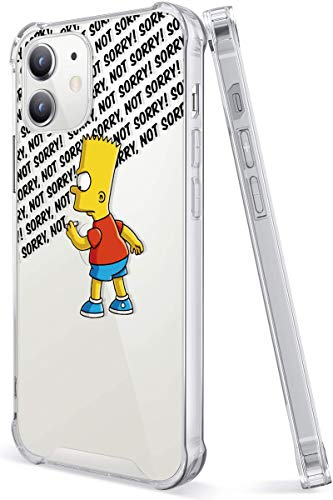 Crystal Clear iPhone 12 Case and iPhone 12 Pro Case with 4 Corners Shockproof Protection,Cute Cartoon Design Soft TPU Bumper and Hard Transparent PC Back Cover Cases (Simpsons-not-Sorry-Bart)