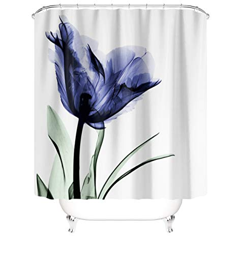 M&W DasDesign Duschvorhang Tulpen Blumen lila blau Badezimmer Textil Vorhang Blätter Antischimmel Effekt waschbar Pflanzen Shower Curtain badewanne inkl. 12 C-Ringe Gewicht unten 180 x 200 cm