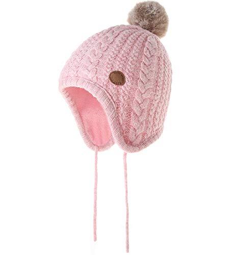 AHAHA Baby Mädchen Wintermütze Ohrenklappen Pompon Strickmützen Mädchen, Rosa 2, Gr.- 1-3 Jahre/ M