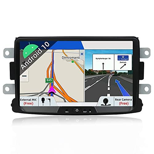 8 pulgadas Android 10 Double Din Unidad principal de navegación GPS para Dacia Sandero/Renault Duster Car Stereo Sat Nav Soporte SWC Control de teléfono Bluetooth Reproductor multimedia Receptor de