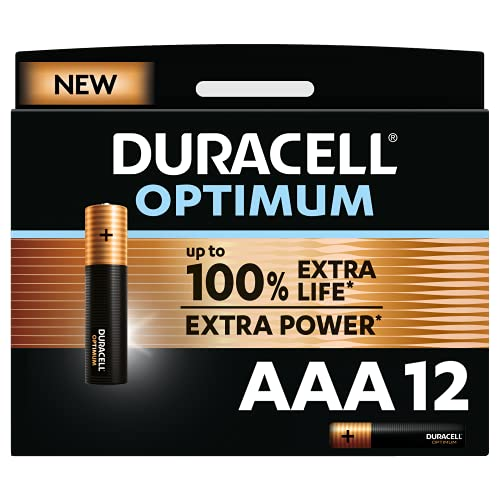 Duracell - NUOVO Optimum AAA, Batterie Ministilo Alcaline, confezione da 12, 1.5 V LR03 MX2400