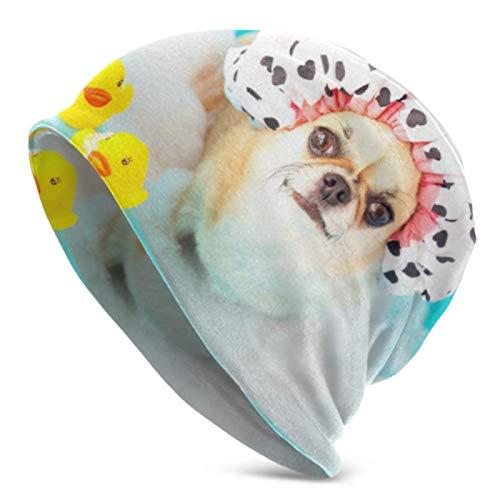 AEMAPE Gorros para hombres y mujeres chihuahua perro tomando la ducha pato juguetes Beanie Cap elástico suave Beanie Cap