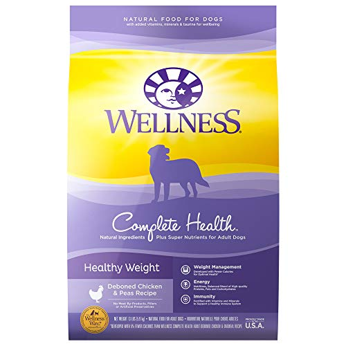 Wellness Natural Pet Food Complete Health Natural Dry Healthy Weight Dog Food, Chicken & Peas, 13-Pound Bag