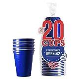 Confezione da 20 Tazze Ufficiali Originali Blu  53cl Blue American Cups  Beer Pong  qualità Premium  Bicchieri di plastica riutilizzabili  Lavaggio a Mano e in Lavatrice  OriginalCup®