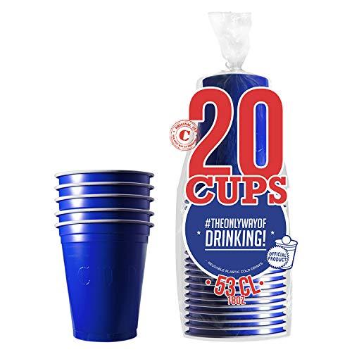 Pack de x20 Original Blue Cups Officiels | Gobelets Américains 53cl Bleus | Beer Pong | Qualité Premium | Gobelets en Plastique Réutilisables | Lavables Main et Lave-Vaisselle | OriginalCup®
