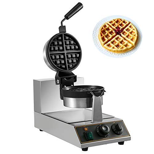 VBENLEM 110V Commercial Round Waffle Maker Nonstick Rotated 1100W Electric Waffle Machine Stainless Steel Temperature and Time Control Suitable for Bakeries Snack Bar Family