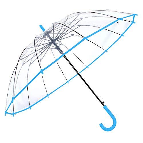 Regenschirm Transparent Stockschirme Transparent Damen und Herren, Winddicht, Automatisch, 14 Glasfaserstangen. Regenschirm (Hellblau)