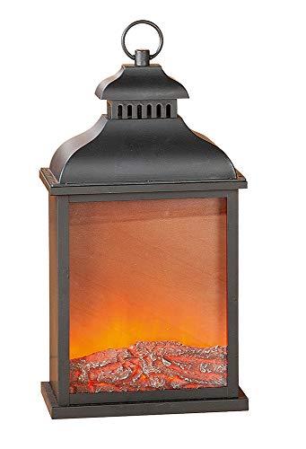 GILDE LED Laterne - Metall - Kamin- Flammen-Optik mit Stromanschluss H 45 cm
