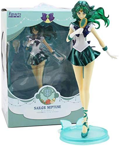 Kinder Anime Figur Sailor Moon Seemann Neptun KaiOu Michiru Handgemachtes Modell PVC Charakter Modell Figur Lieblingsstatue Modell Spielzeug 21cm