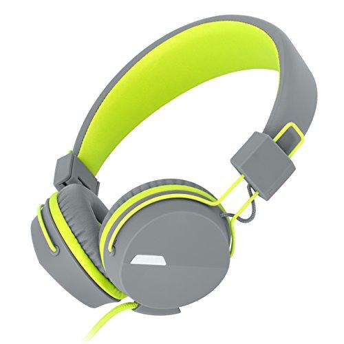 Kanen I39 On ear Kopfhörer mit In-Line Mikrofon leicht tragbarer faltbarer und einstellbarer für Kinder/Erwachsene (Grün)
