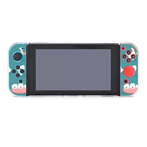 Protective Case Cover for Nintendo Switch Cute Tooth Character Set with Toothpaste And Toothbrush Dockable Case Compatible with Nintendo Switch Console and Joy-Con Controller