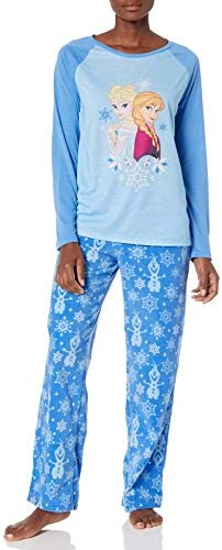 Disney Women s Frozen Holiday Family Sleepwear Collection Snowflake Blue Adult M product image
