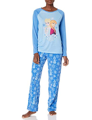 Disney Women's Frozen Holiday Family Sleepwear Collection, Snowflake Blue (Adult), L