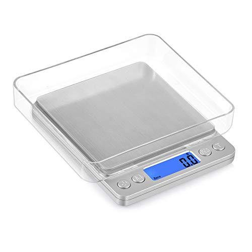 Proster Mini Bilancia Digitale da Cucina 0.1g-3kg Bilancia Alimenti Portatile Tascabile Bilancino Pesa Oro Gioielli Moneta Bilancia per Cibo da Cucina- Argento