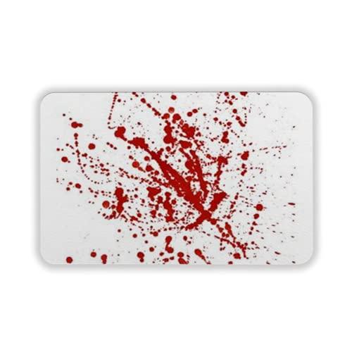 Tapete para Piso, tapetes de Bienvenida de Caucho Natural Duradero ,Red Drops and Sprays on a White Background,Alfombra para Interiores y Exteriores 15 by 24 Inches