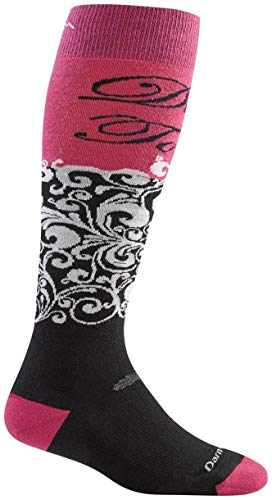Darn Tough Merino Wool Ski DT Script Cushion Sock - Women's Berry Large (Past Season)