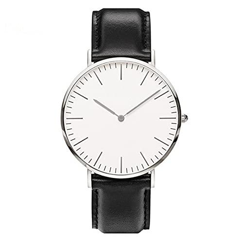 Nihlsen Reloj de correa de cuero de la PU simple reloj casual de los hombres y las mujeres reloj de cuarzo ultrafino militar militar reloj de cuero