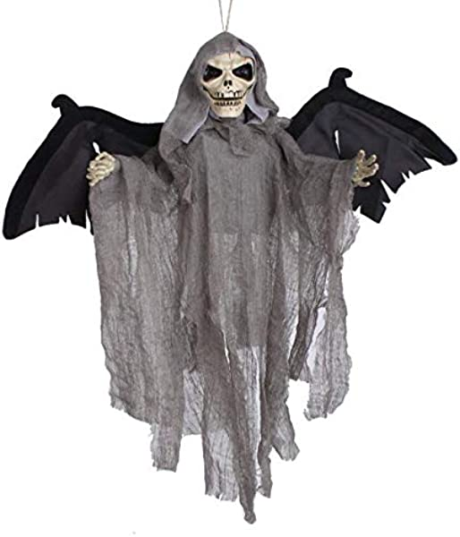 Halloween Skeleton Decoration Hanging Grim Reaper Pendant Floating Skull Light Up Eyeball Haunted House Decorations Halloween Theme Bar Yard Indoor Decor Spooky Devil Ornament Props Toys