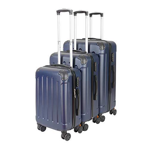 3er VOSSBACH Kofferset Trolley Koffer Set Hartschalenkoffer Reisekoffer Gepäck Hartschalen Rollkoffer Dunkelblau