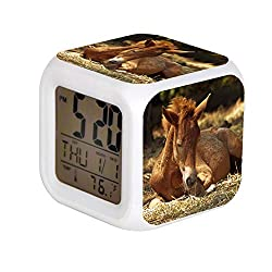 ALPERT Child 7 Color Change LED Digital Alarm Clock with Date Alarm Thermometer Desktop Table Cube Alarm Clock Night Glowing Flash Watch Toys Brown Horse Lying on Ground