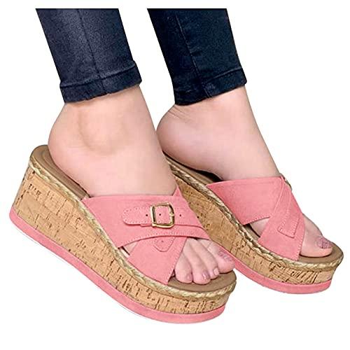 Beudylihy Sandalias de mujer de verano, con cuñas, plataformas, de moda, sandalias de piso, sandalias romanas, sandalias de playa, color Rosa, talla 37 EU
