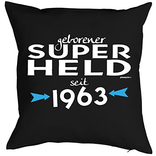 Mega-shirt voor 56 verjaardag cadeau-idee kussen met vulling geboren Super Held sinds 1963 kussen voor 56e verjaardag voor 56-jäirge decoratiekussen