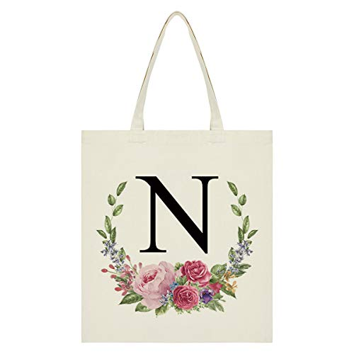 Personalized Tote Bag Floral Initial Canvas Tote Bag Bridesmaids Bags for Women, Monogram Bag for Bridesmaids Wedding Bachelorette Party (Letter N)