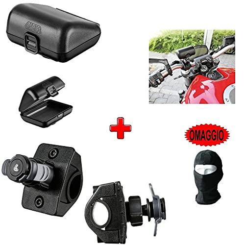 Compatible con Aprilia Shiver 750 ABS Funda RÍGIDA para TELEPASS OPTI Maleta+Soporte Fijo para MANILLARES DE Motocicleta DE 16A32MM Todas Las LAMPA