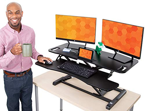 Flexpro Hero 37 Inch Standing Desk | 2 Level Standing Desk Converter with Keyboard Shelf and Monitor Riser | Large Dual Level Sit to Stand Workspace | Easily Sit or Stand in Seconds! (Black / 37')