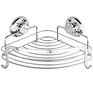 HASKO accessories Corner Shower Caddy with Suction Cup, Shower Shelf with Hooks, Wall Mounted Shower Basket for Bathroom, Adhesive 3M Stick Discs Included (Polished Stainless Steel SS304)