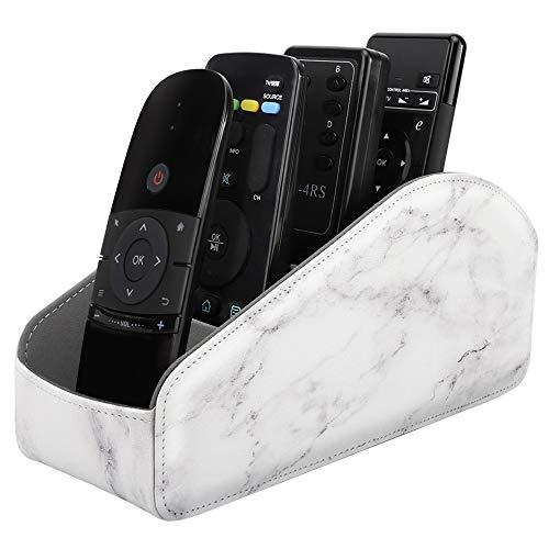 MoKo Porte Télécommande s'Adapté à ROKU/TV/Fire TV/Smartphones, Support de Télécommandes, Titulaire de la Télécommande en Cuir pour jusqu'à 5 Télécommandes - Marble Blanc