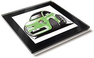 Koolart Cartoon Car Fiat 500 - Posavasos de cristal con caja de regalo, verde,