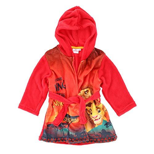 Disney The Lion King Jungen Bademantel Flauschig und Warm Coral Fleece Morgenmantel Rot 7-8 Jahre (128CM)