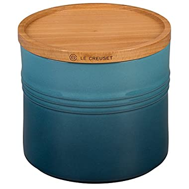 Le Creuset 5 Stoneware 1/2  Canister with Wood Lid, 1 1/2 quart, Marine