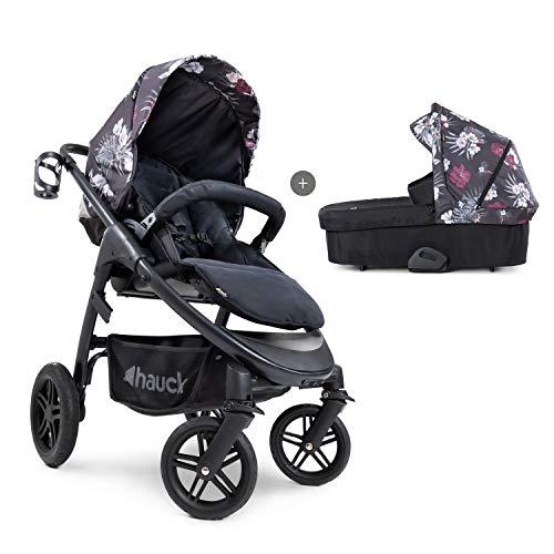 Hauck Saturn R Duoset All-Terrain Sportwagen + Beindecke + Babywanne, drehbar, bis 25 kg, Getränkehalter, höhenverstellbar, kompakt faltbar, kompatibel mit Babyschale, black