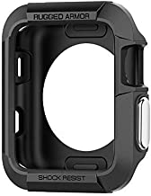 Priefy Rugged Armor Slim Lightweight Case Cover Compatible with Apple Watch 42 MM Series 3 2 1 - (Black)