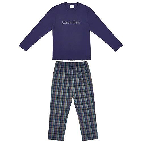 Calvin Klein L/s Set Pantalones térmicos, Azul (Blue Noir Top/Gillette Plaid Pant...