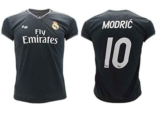 Camiseta de Fútbol Luka Modric 10 Real Madrid 2ª Equipación Negra Temporada 2018-2019 Replica Oficial con Licencia Blister - Todos Los Tamaños NIÑO y Adulto (14 AÑOS)
