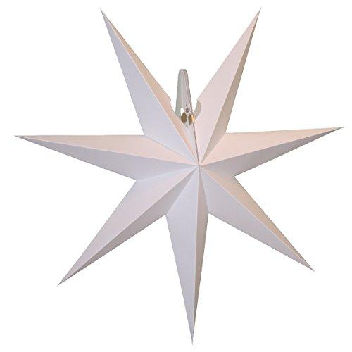 original Annaberger Fensterstern - Faltstern mit Beleuchtung, Weihnachtsstern, Adventsstern Farbe: weiß, Durchmesser: max. 54 cm, Tiefe: ca. 12 cm