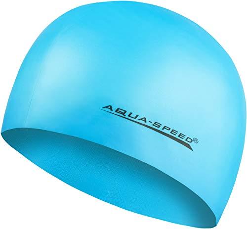 Aqua Speed MEGA Super-Stretch Badekappe | Schwimmkappe | Bademütze | Badehaube | Schwimmer | Sport | Schwimmen | Triathlon | Silikon | Hellblau 29